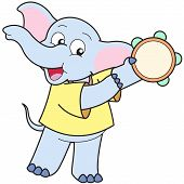 Cartoon Elephant Playing A Tambourine