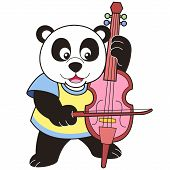 Cartoon Panda Playing A Cello