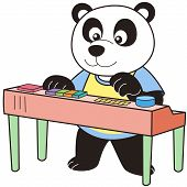 picture of organist  - Cartoon Panda playing an electronic organ - JPG