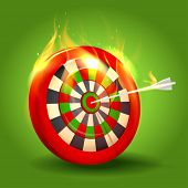 Burning target design on green background. Eps10.