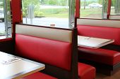 Comfortable booths at local diner