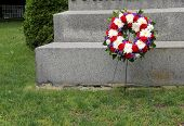 Memorial wreath near gravesite