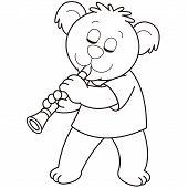 Cartoon Bear Playing A Clarinet