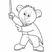 Conductor de música oso de dibujos animados.