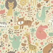 Cute floral seamless pattern with wild animals from Africa. Koala, lion, crocodile, hippo, giraffe,