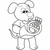 Cartoon Dog Playing A French Horn