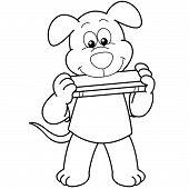 Cartoon Hund Mundharmonika spielt