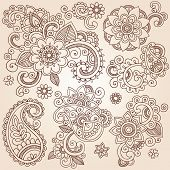 Henna Paisley bloemen Mehndi Tattoo Doodles Set - Abstract Floral illustratie ontwerpelementen