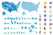 USA -highly detailed map.All elements are separated in editable layers clearly labeled. Vector