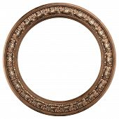 round ornamented old gold picture frame isolated on white
