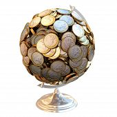 Desktop Globe created out of money isolated on white