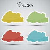 stickers in form of Bhutan