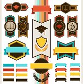 School education badges and ribbons.
