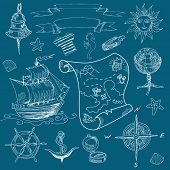Hand drawn doodles Sea vintage elements