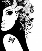 silhouette of a woman with flowers and butterflies, vector illustration