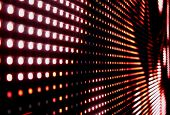 stock photo of musical scale  - red dark led perspective electronic glowing screen - JPG