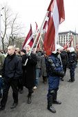 Latvian Nationalists With Flags