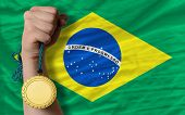 Gold Medal For Sport And  National Flag Of Brazil