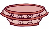 Isolated Vector Illustration of Patterned Ceramic Bowl