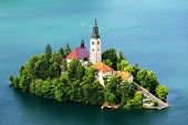 View of St. Mary�?�´s Church of the Assumptionon, Bled Lake, Slovenia