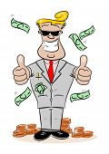 Cartoon Businessman with Money