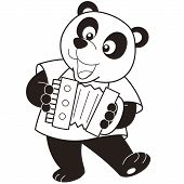 Cartoon Panda tocando acordeom