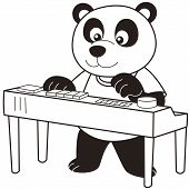 pic of organist  - Cartoon Panda playing an electronic organ - JPG