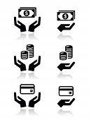 Hände mit Geld-Vektor-Icons set