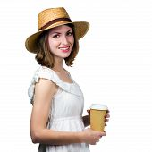 Young Happy Woman Holding A Disposable Cup. Isolated On White Background