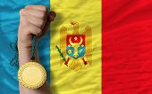 Gold Medal For Sport And  National Flag Of Moldova