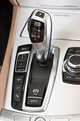 stock photo of gear-shifter  - Automatic gear shifter in luxury sports car - JPG