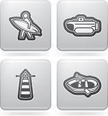 stock photo of pontoon boat  - 4 vector icons related to ships boats and other objects - JPG