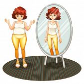 stock photo of skinny fat  - Illustration of a fat girl and her skinny reflection on a white background - JPG