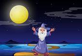 Ilustración de un mago bajo la brillante luna llena