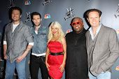 Blake Shelton, Adam Levine, Christina Aguilera, Cee Lo Green, Mark Burnett at NBC's