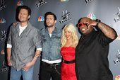 Blake Shelton, Adam Levine, Christina Aguilera, Cee Lo Green at NBC's