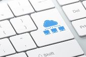 Cloud networking concept: Cloud Network on computer keyboard background