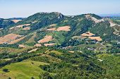 View from castle of Montebello. Emilia- Romagna. Italy.