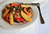 Delicious plate of chicken scarpiello