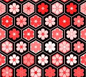 Red flowers in a hexagon geometric structure seamless pattern, vector