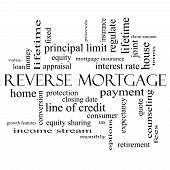 Reverse Mortgage Word Cloud Concept In Black And White