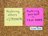 foto of interpreter  - famous Lao Tzu quote interpretation with sticker notes on cork board - JPG