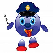 pic of truncheon  - Nice small police cartoon on white background is isolated - JPG
