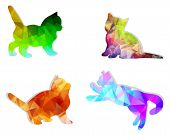 Vector Mosaic Silhouettes Of Cats