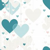 gray blue pink hanging hearts valentines day romantic seamless pattern on white