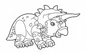 stock photo of dinosaurus  - Beautiful dinosaur coloring page for the children - JPG