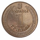 One Ukrainian Hryvnia Coin Isolated On White