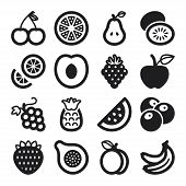 image of black-cherry  - Set of black flat icons about fruit - JPG