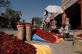 Street Stall With The Red Pepper In India