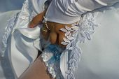 stock photo of garter  - Closeup of bride - JPG